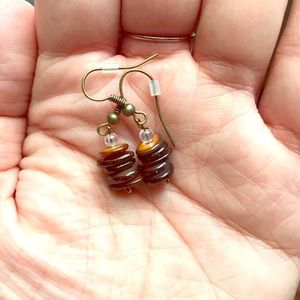 RUSTY GOLD AND BROWN EARRINGS